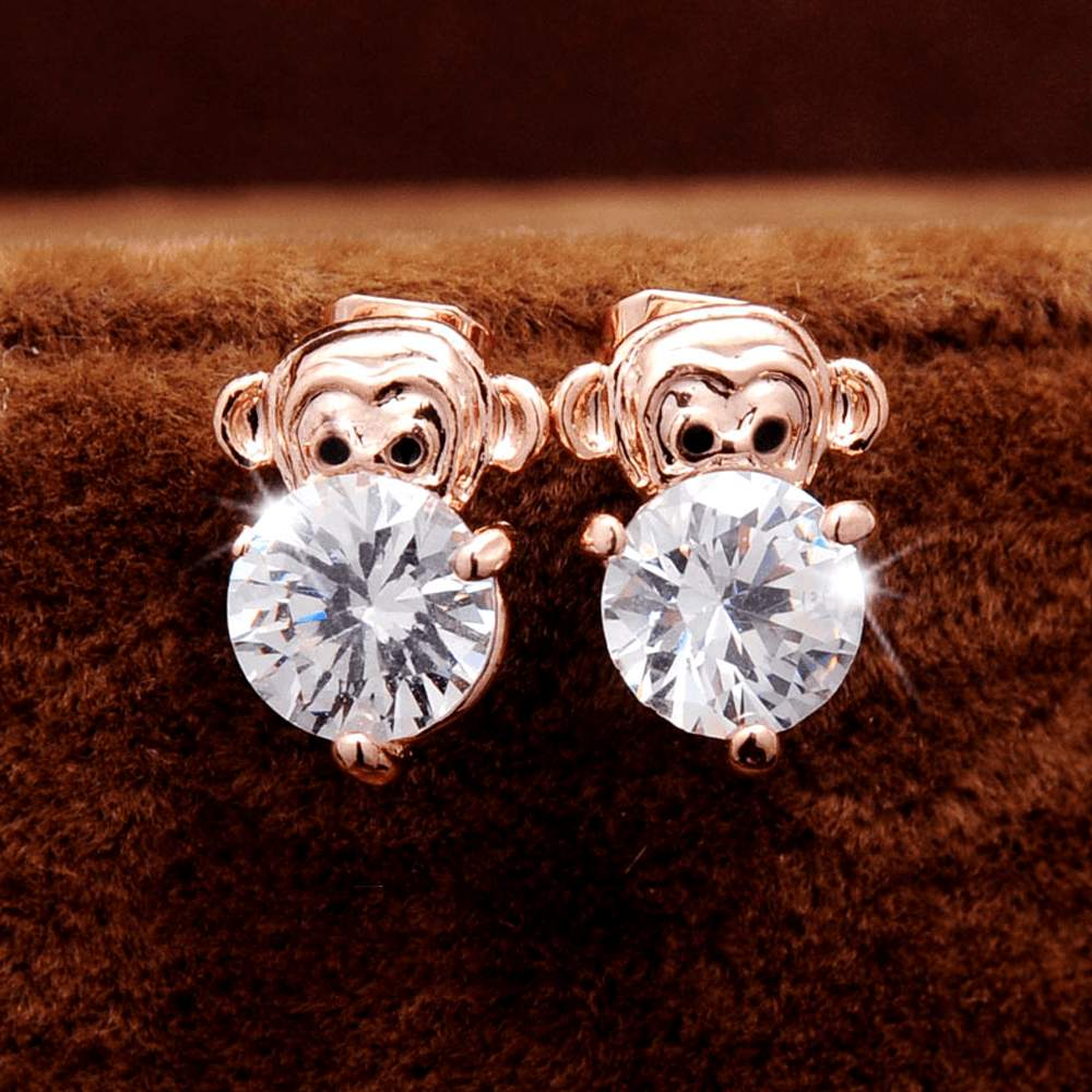 Free Jewelry - Baby Monkey Pierced Stud Earrings - Clever Clad