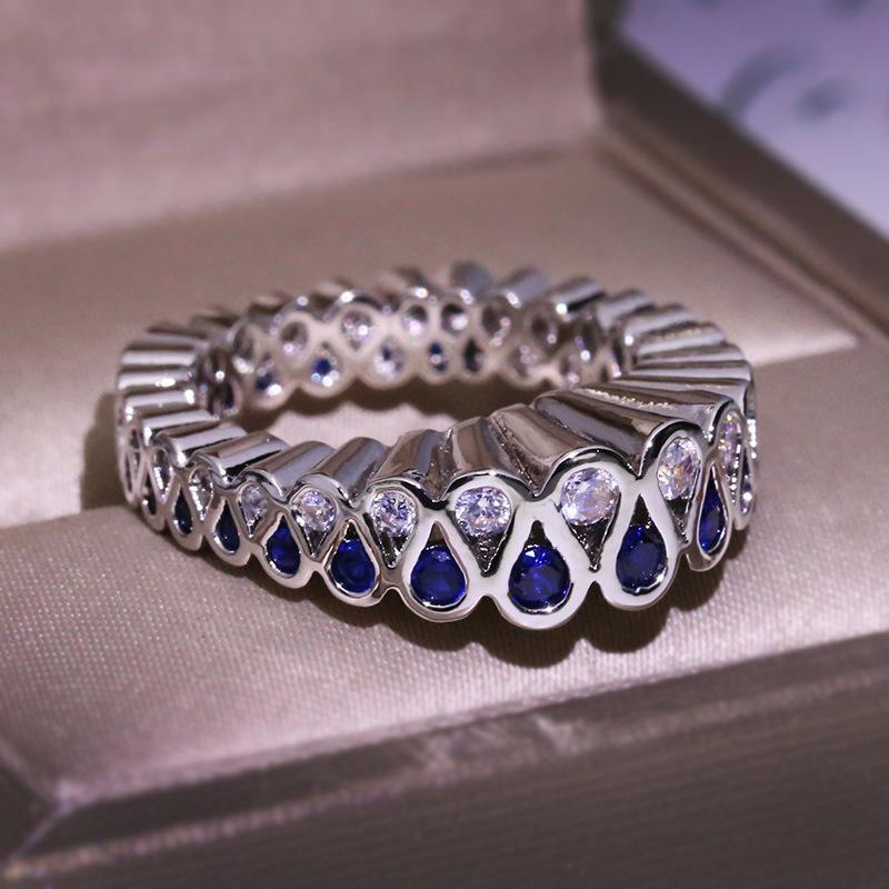 luxury white blue ring