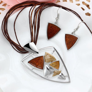 Jewelry Sets Leather Rope Gem