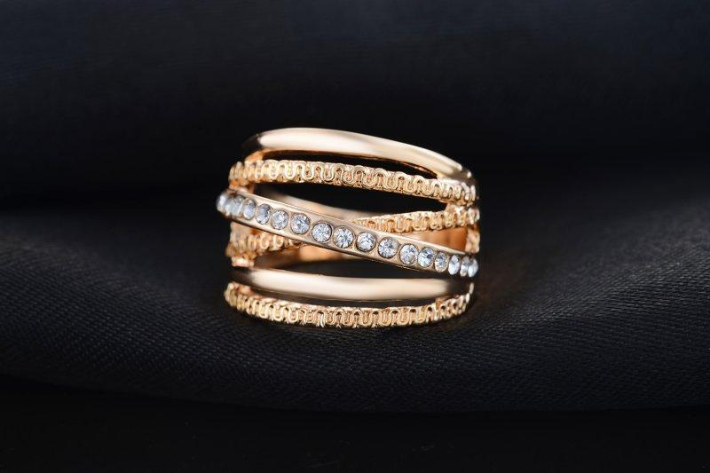 2018 Stylish Double Cross Crystals Engagement Ring Band