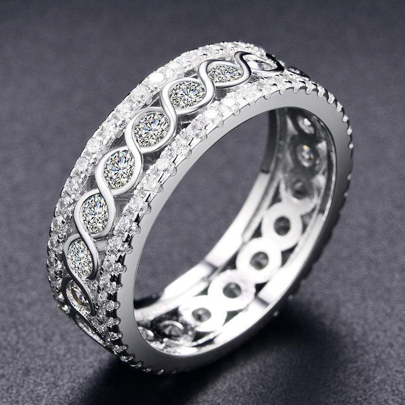 2018 Round Crystals Twisted Rope Eternity Ring