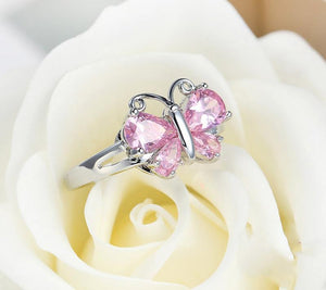 Sparkling Butterfly Finger Ring