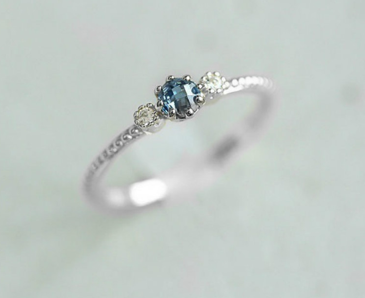 Top Rated Natural Sea Blue Engagement Ring