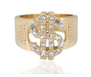 Chic Dollar Crystals Statement Ring