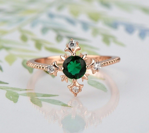 NEW RELEASE! Chic Green Zircon Thin Engagement Ring