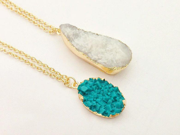 Free Jewelry - Summer Druzy Teardrop Necklace - Clever Clad