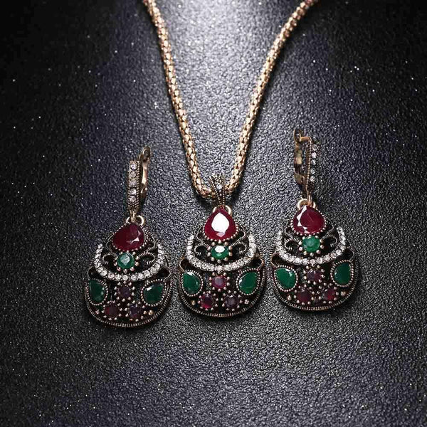 New Women Jewelry Set Resin Pendant Necklace Crystal Rhinestones
