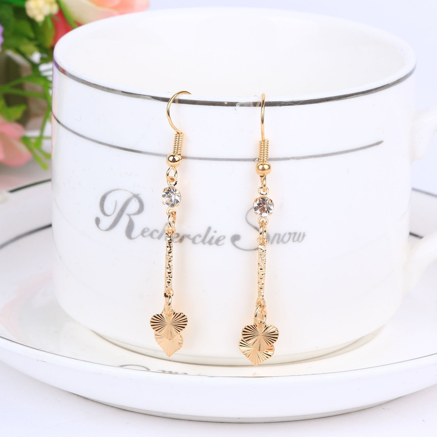 Jewelry Sets Crystal Love Statement Necklace & Drop Earrings for Women
