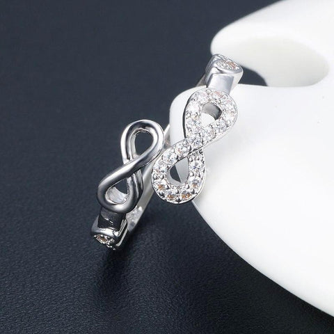 Sophisticated Real Rhinestones Double Infinity Ring