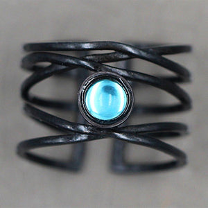 Classical Cross Moonstone Ring