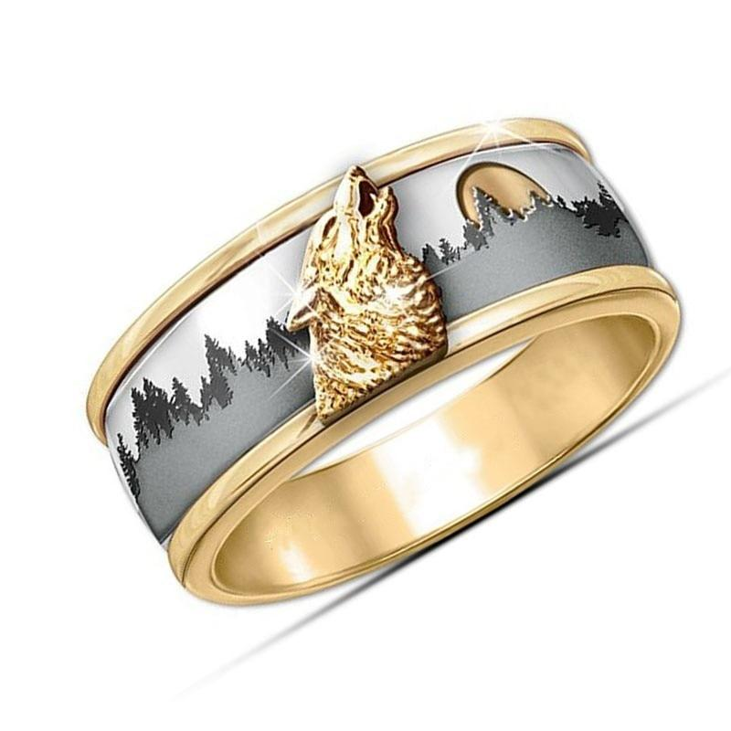 Wild Viking Wolf Ring