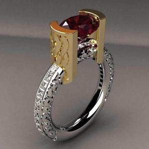 Elegant Red Crysal Engagement Ring