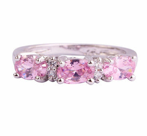 Oval Cut Pink White Ring