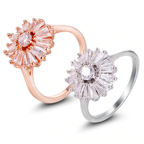 Sophisticated Flower Zirconia Engagement Ring
