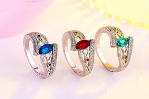 2018 Classy Water Drop Colored Crystal Engagement/Wedding Ring
