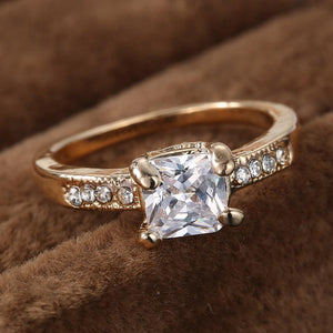 Classic Square Stone Wedding Ring