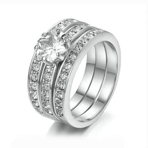 Glamorous Three Round Crystals Studded Engagement Rings