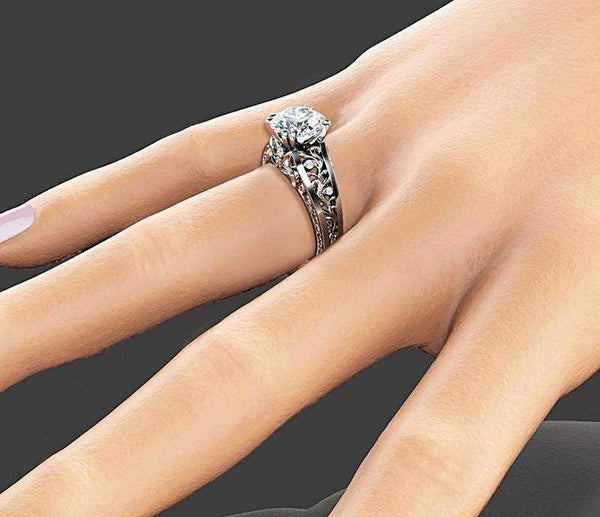 2018 Luxury Vintage Leaf Zircon Wedding Ring