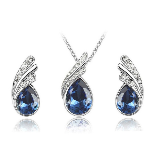 Silver Jewelry Set Crystal