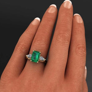 Emerald Square Crystal Ring