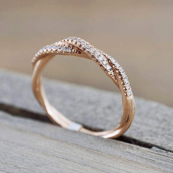 2018 Round Cut Crystals Twisted Rope Infinity Ring