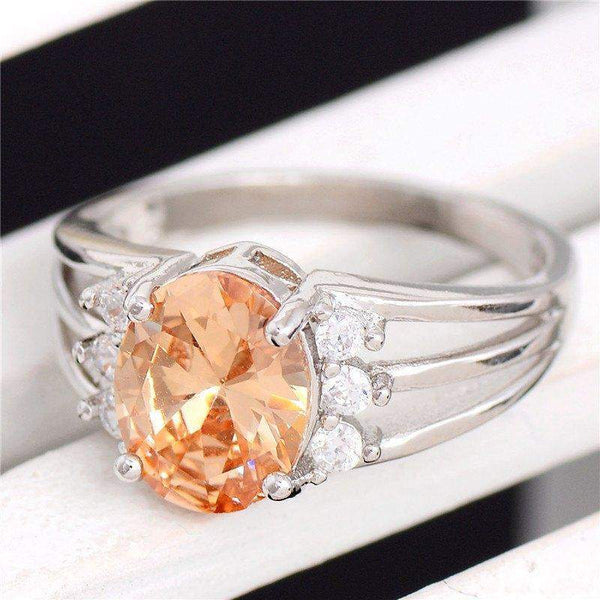 Free Jewelry - Trendy Orange Stone Engagement Ring - Clever Clad