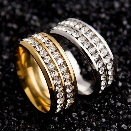 Best Selling Double Row Crystals Wedding Ring Band