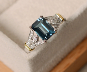 Luxury Blue Square Bridal Ring