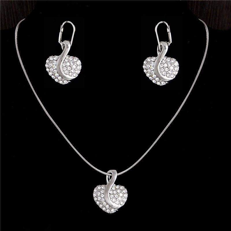 Free Jewelry - Gemmed Heart Earrings & Necklace Set - Clever Clad