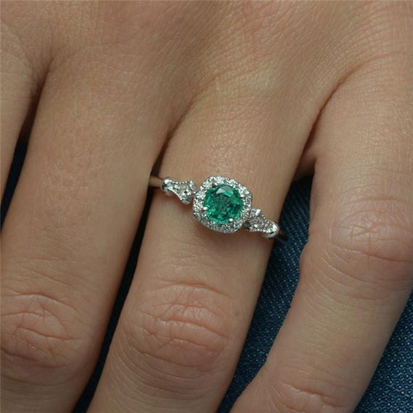 2018 Elegant Green Stone Engagement / Wedding Ring