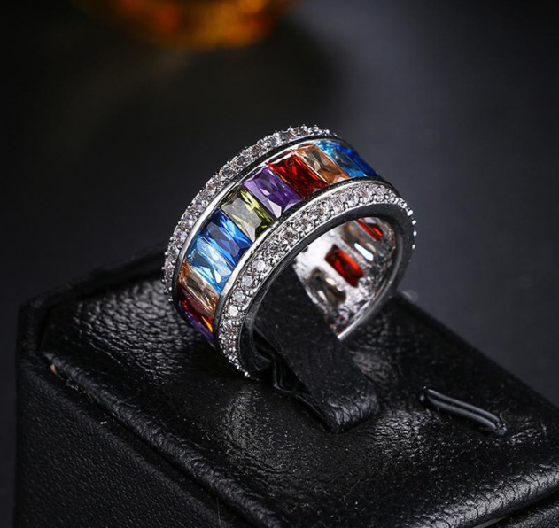 Precious Multi-colored Zircon Engagement Ring