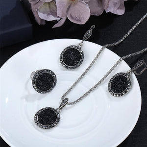 Vintage Black Gem Jewelry Set  Crystal Round Stone Pendant Necklace