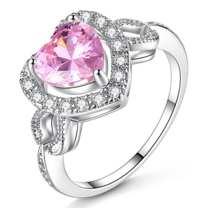 Heart Pink Full Crystal Ring