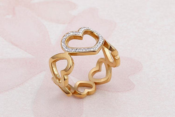 2018 Pure Love Hearts Bridal Ring