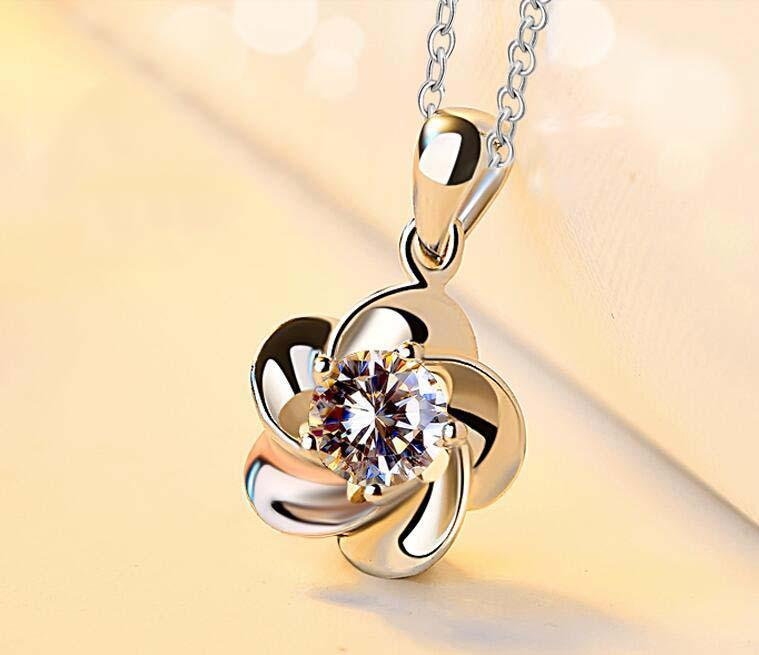 Silver Flower Earrings/Necklace For Women Wedding Exquisite Elegant Small Jewelry Set
