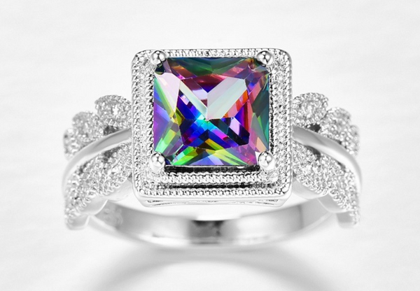 Dazzling Colored Cubic Zircon Engagement Ring