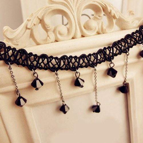 Black Beads Lace Choker Necklace