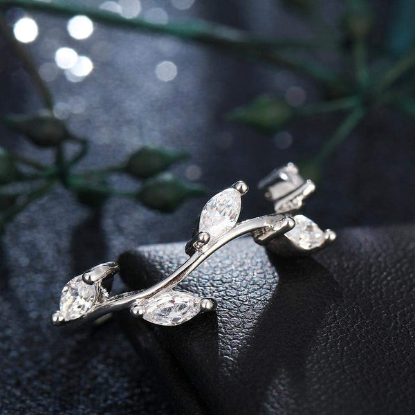 2018 Four Seasons Leaf Crystals Wedding Ring