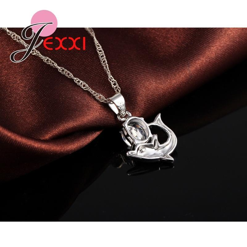 Silver Lovely Dolphin Pendant Necklace Loop Earrings Sets for Women