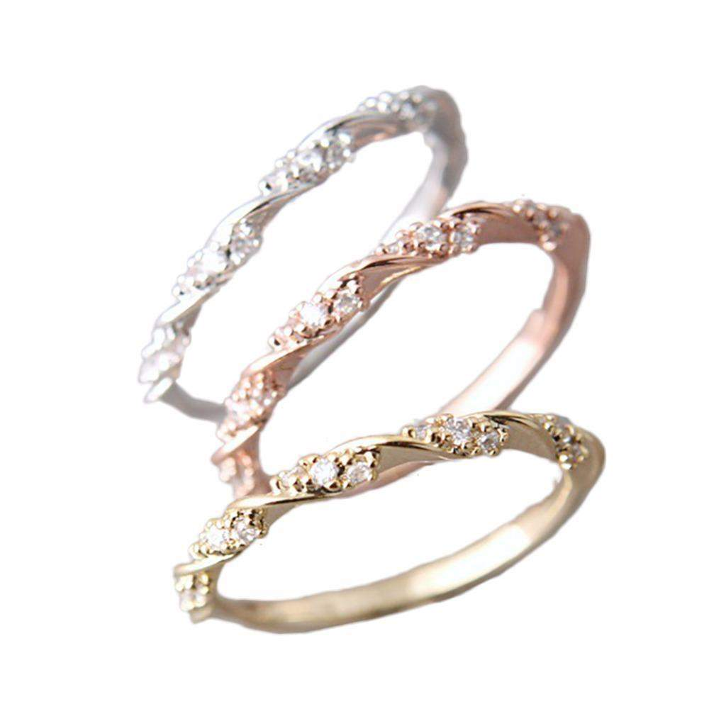 Twisted Austrian Rose Thin Bridal Ring