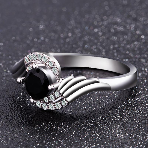 2018 Black Zirconia Angel Wings Engagement Ring