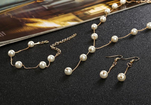 Bridal Jewelry Sets Simulated Pearl Wedding Tassel Earrings Necklace Party Beads Bracelet