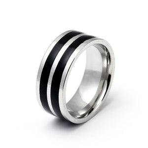 Double Lines Center Titanium Ring