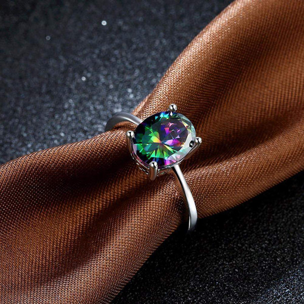 2018 Classic Rainbow Zirconia Engagement Ring