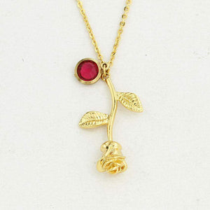 2018 Personalized Birthstone Rose Necklace