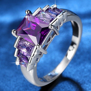 Princess Purple Cubic Zirconia Wedding Ring
