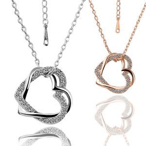 Free Jewelry - Double Heart Pendant Necklace - Clever Clad