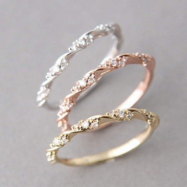 2018 Twisted Austrian Rose Thin Bridal Ring
