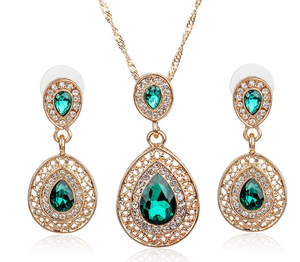 Wedding Bridal Dress Accessories Jewelry Sets  Water Drop Crystal Necklace Earrings Set
