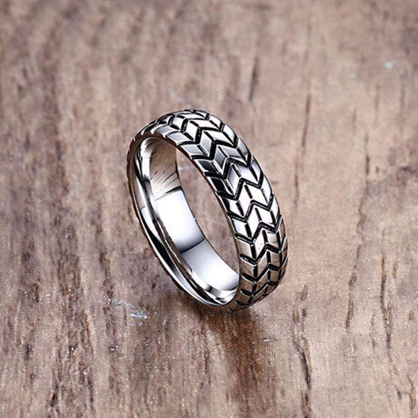 Top Rated Vintage Stainless Steel Tire Wedding Ring For Men